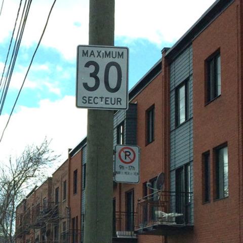 Les panneaux 30 km/h font leur apparition dans Le Sud-Ouest. (Groupe CNW/Ville de Montréal - Arrondissement du Sud-Ouest)