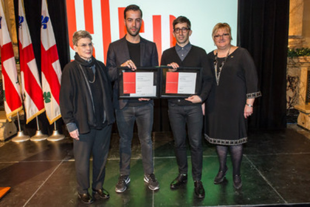 Montréal architectural firm Pelletier de Fontenay, founded in 2010 by Hubert Pelletier and Yves de Fontenay, has won the 2015 Phyllis Lambert Grant for its project entitled Architectures de la nature captive. Left to right: Ms. Phyllis Lambert, CCA ; MM Yves de Fontenay and Hubert Pelletier, laureats of 2015 Phyllis Lambert Grant; Ms. Chantal Rossi, Ville de Montréal (CNW Group/Ville de Montréal - Cabinet du maire et du comité exécutif)