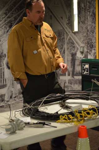 Toronto Hydro's Rob Milner does some 'show and tell' with damaged equipment from the December 22 ice storm that devastated much of Toronto Hydro's grid. (CNW Group/Toronto Hydro Corporation)