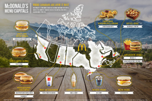 McDonald's Menu Capitals: Where Canadians are Lovin' it Most! (CNW Group/McDonald's Canada)