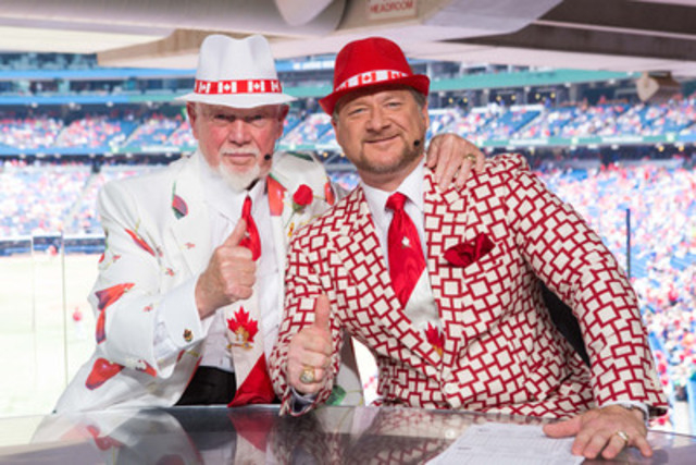 O Canada! Don Cherry joins Gregg Zaun on the set of Sportsnet's Blue Jays Central at Rogers Centre to celebrate Canada Day and the first day of Rogers becoming the official NHL national broadcast rights holder in Canada (CNW Group/Sportsnet)
