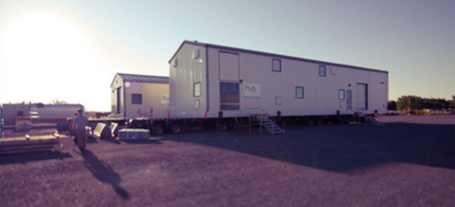 Workers' Camp, Alberta, Canada - Oil & Gas Industry - Modular turn-key packaged plants - Drinking water production (ultrafiltration & reverse osmosis) - 300 m3/d (55 gpm) - Wastewater treatment (Bio-Brane™) - 400 m3/d (73 gpm) (CNW Group/H2O INNOVATION INC.)