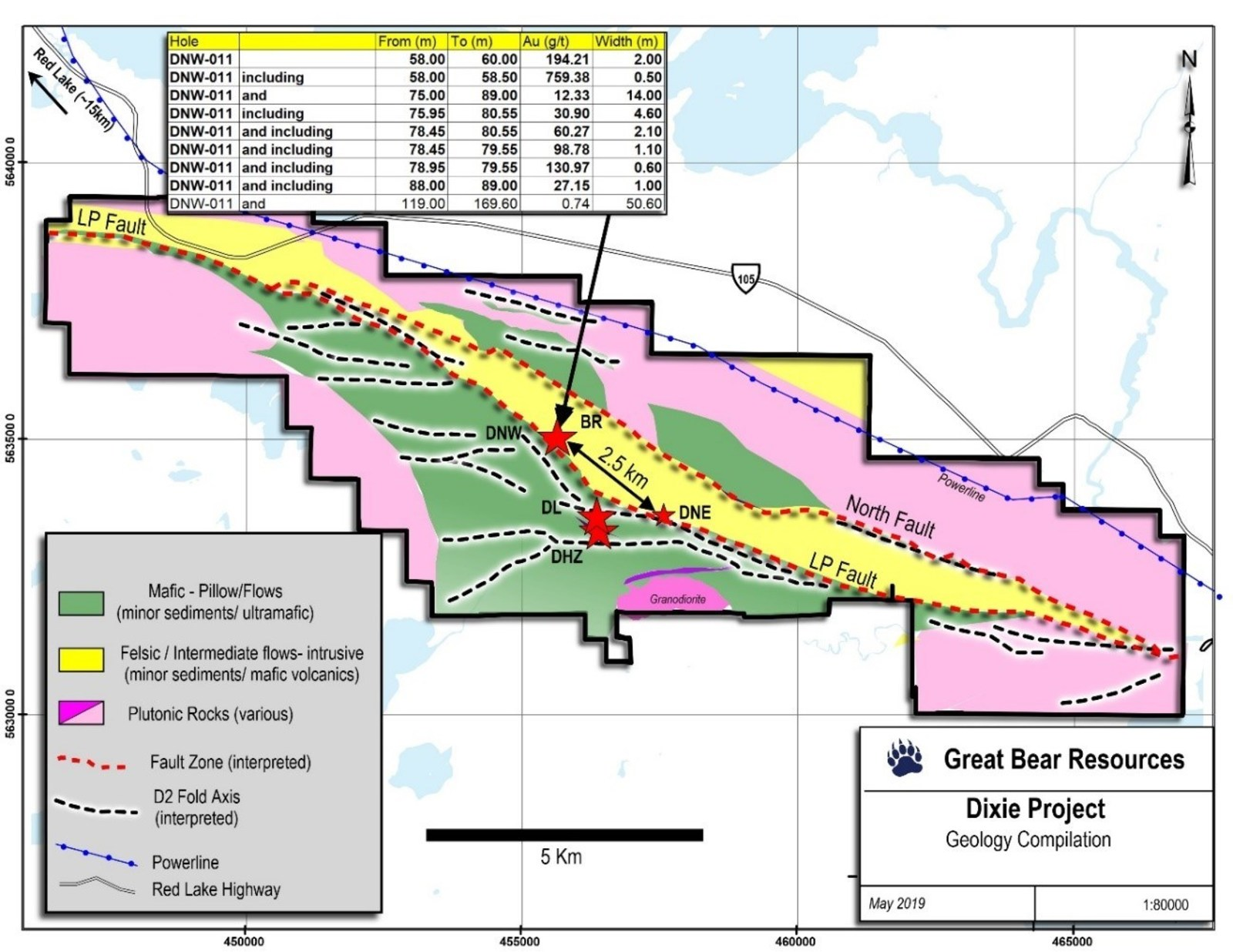 "Figure 1: Map of the Dixie project showing the location of known gold zones and current drill results.  The location of the LP Fault drilled in DNW-011 is shown in red dashes.  The Bear-Rimini Zone is labelled ""BR""."