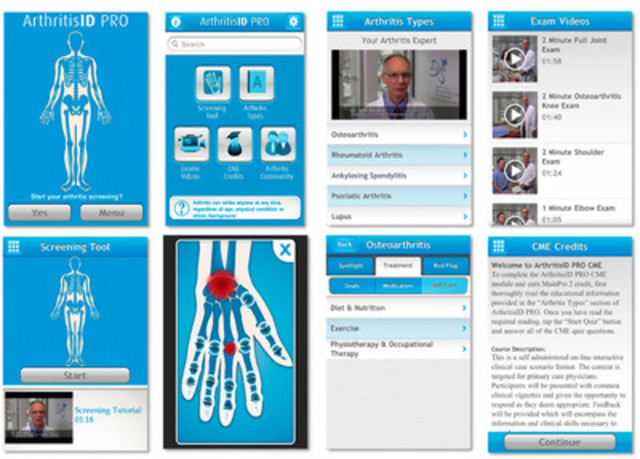 Screen shots of ArthritisID PRO (CNW Group/National Arthritis Awareness Program)
