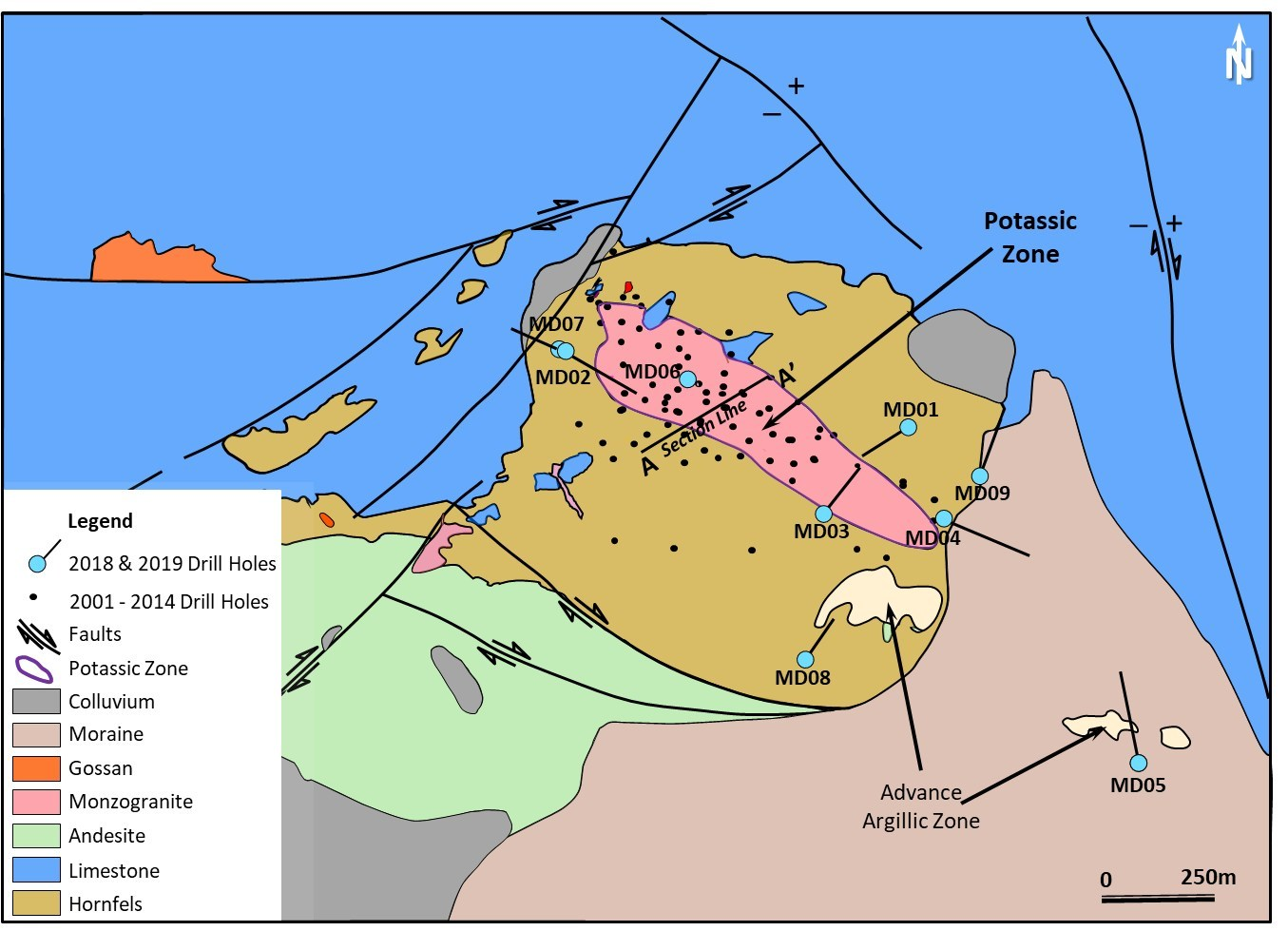 Figure 2. Geology and alteration map of Mavidere prospect. (CNW Group/Alacer Gold Corp.)