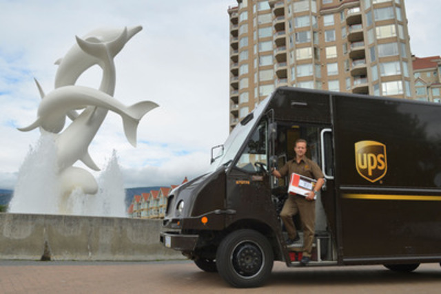UPS Canada is expanding in British Columbia! On Monday, September 15, UPS Canada expanded its centre in Kelowna to accommodate and serve a growing customer community. Darren Klammer, service provider, UPS Canada stands beside an iconic Kelowna landmark, Rhapsody. (CNW Group/UPS Canada Ltd.)