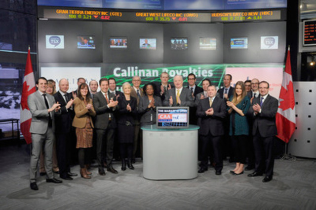 Glenn Brown, President & CEO, Callinan Royalties Corporation (CAA) joined Carlos Espinosa, Head, Business Development, Global Mining, Toronto Stock Exchange & TSX Venture Exchange to open the market. Callinan Royalties Corporation was originally established in 1927 and has had a presence in the Flin Flon Mining district in northern Manitoba. Callinan holds a portfolio of royalties, including its 4% Net Smelter Royalty on the Hudbay 777 Mine also located in Manitoba. Callinan Royalties Corporation graduated from TSX Venture Exchange to Toronto Stock Exchange on February 26, 2015. (CNW Group/Toronto Stock Exchange)