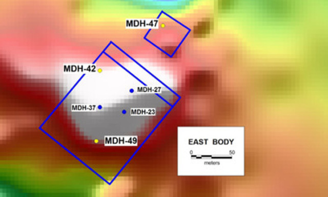 Figure 4. East Body revised magnetic model and drill hole locations (CNW Group/RTG Mining Inc.)