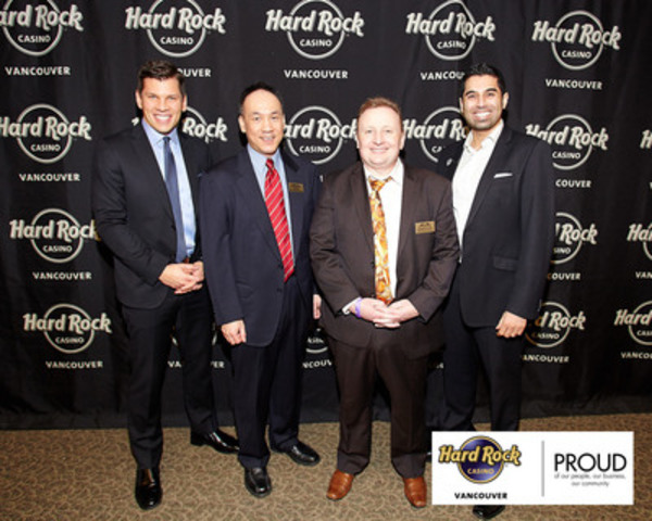 Chuck Keeling, Vice President Stakeholder Relations and Responsible Gaming, Great Canadian Gaming Corporation and Raj Mutti, Executive Director, Hard Rock Casino Vancouver together with Martin Wyant, Chief Executive Officer, SHARE Family & Community Services and Ed Yee, Chair of the Board of Directors for SHARE, look forward to the new partnership between Hard Rock Casino Vancouver and SHARE Family & Community Services. (CNW Group/Hard Rock Casino Vancouver)