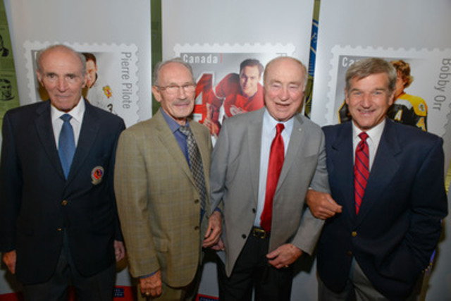 (left to right): Harry Howell, New York Rangers, Pierre Pilote, Chicago Blackhawks, Red Kelly, Detroit Red Wings, Bobby Orr, Boston Bruins (CNW Group/Canada Post)