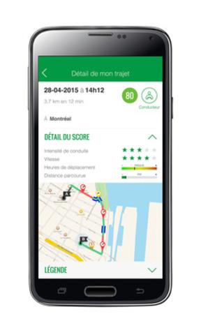Avec l'application, le programme Ajusto de Desjardins Assurances est accessible plus facilement et à davantage d'assurés qui pourront améliorer leur conduite grâce à une rétroaction quasi instantanée sur leur comportement routier (Groupe CNW/Mouvement Desjardins)