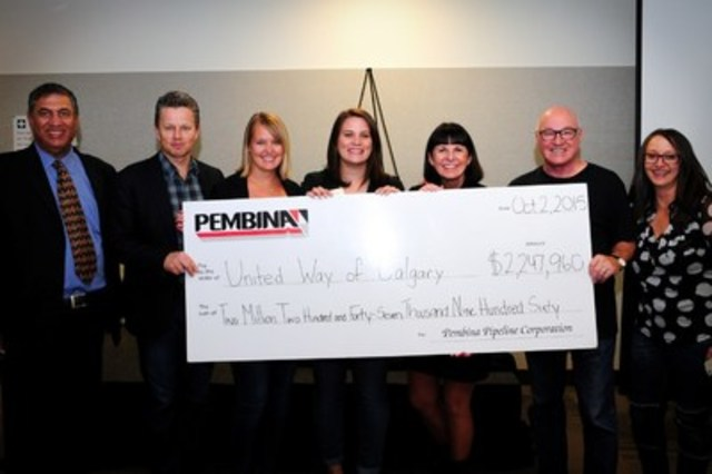 Pembina presents a cheque during the campaign wrap up to United Way of Calgary and Area representatives (donation amount has since increased). Pictured left to right: Jaymal Ruparell, Board of Directors, United Way; Mick Dilger, President & CEO, Pembina; Stevie Stanger, Campaign Manager, United Way; Lindsay Smith, Campaign Advisor, United Way; Dr. Lucy Miller, President & CEO, United Way; Bob Michaleski, United Way Board of Directors and former CEO of Pembina; Shawn Davis, Campaign Chair, Pembina. (CNW Group/Pembina Pipeline Corporation)