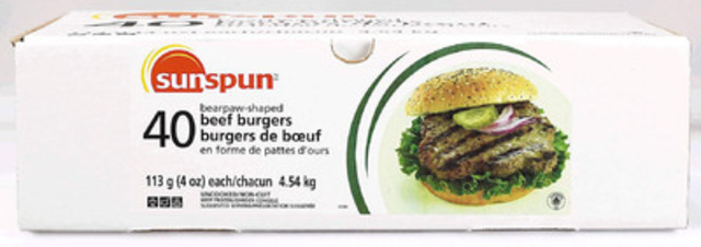 Product Recall: frozen Sunspun Bearpaw-shaped Beef Burgers sold in 4.54 kg (40x4oz) package size (CNW Group/Loblaw Companies Limited)