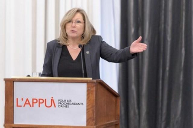 Francine Charbonneau, Ministre responsable des Aînés et de la Lutte contre l'intimidation. (Groupe CNW/L'Appui pour les proches aidants d'aînés)
