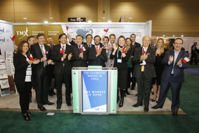 Vicente Mira, Director of the Foreign Investment Promotion Agency, Chile, joined John McCoach, President, TSX Venture Exchange to open the market from TMX Group's booth #2917 on the floor of PDAC's Investors Exchange. There are currently more than 30 mining companies with 95 projects in Chile listed on TSX and TSX Venture Exchange. These companies raised over $64 million in equity for Chilean mining projects on the Exchanges in 2015. (CNW Group/TMX Group Limited)