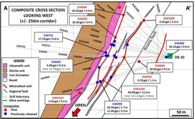 Figure 2: Composite Cross-Section of Fold Target (36 level) (CNW Group/Premier Gold Mines Limited)