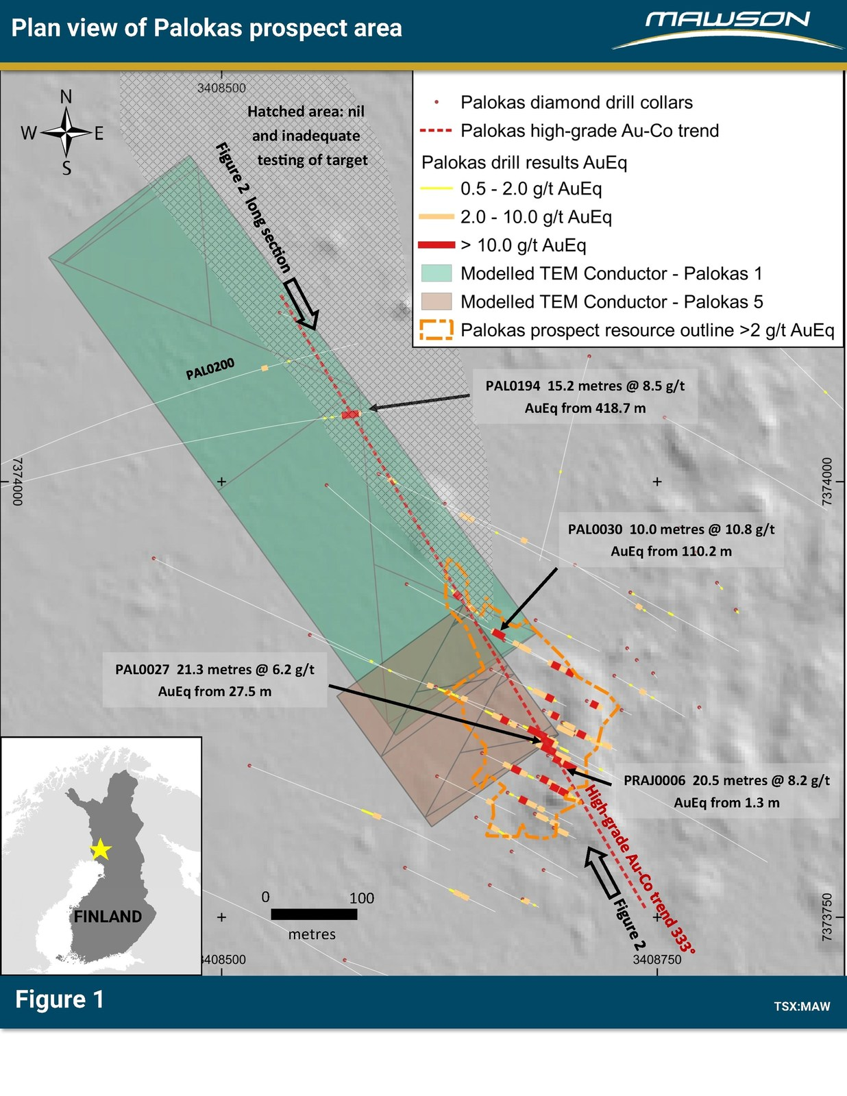 Figure 1: Plan of Palokas prospect area indicating drill results, the outline of 43-101 resource, modelled ground TEM plates over a Lidar background. For more detailed location information, refer to press release of April 23, 2019. Note that Figure 3 is essentially a view down onto the plane of the northwest dipping TEM conductors.