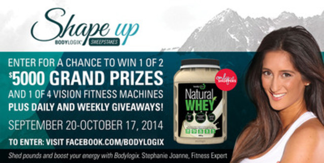 Bodylogix gives Canadians more motivation to get fit this fall with a chance to win $5,000 in the Bodylogix Shape Up Sweepstakes. The prize pool also includes fitness machines from The Treadmill Factory. To enter, visit facebook.com/bodylogix (CNW Group/Bodylogix)
