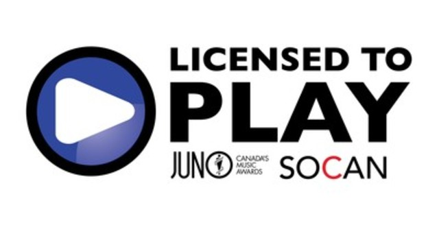 SOCAN has designated 2016 JUNO Week as the first major awards event to be LICENSED TO PLAY, in support of legal, ethical and fair music rights. (CNW Group/SOCAN)