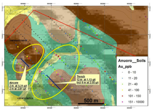North West Zone Map supplied by Newmont Ghana Gold Limited (CNW Group/AMI Resources Inc.)