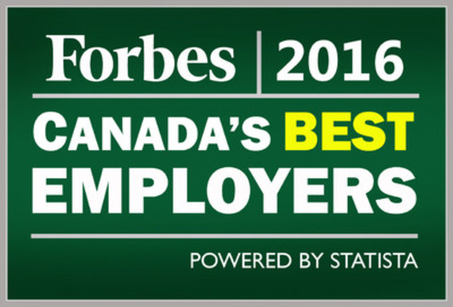 Forbes - Canada's Best Employers 2016 (CNW Group/Bayshore HealthCare)
