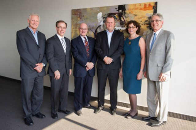 Pictured from left, Benoit Gravel, VP Sanofi Canada; Larry Sidel, VP and COO, JGH Foundation; Myer Bick, President and CEO, JGH Foundation; Jon Fairest, President and CEO, Sanofi Canada; Dr. Susan Kahn, Director, JGH Thrombosis Program; Dr. Hartley Stern, Executive Director, Jewish General. (CNW Group/SANOFI)
