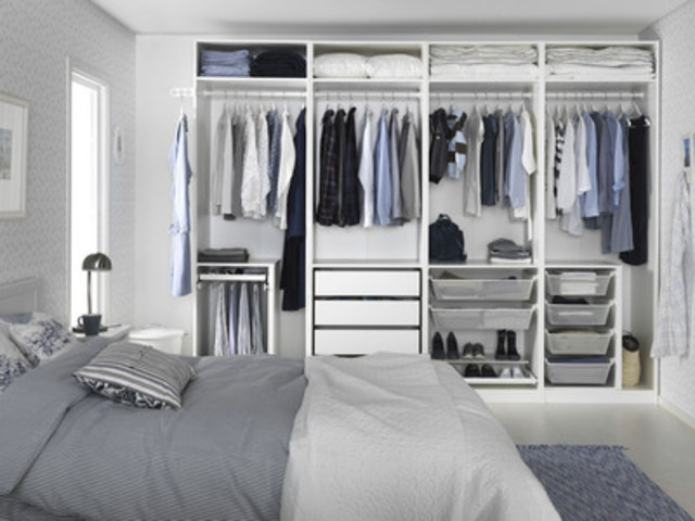 PAX wardrobe system with NEW! KOMPLEMENT interior fittings (CNW Group/IKEA Canada)