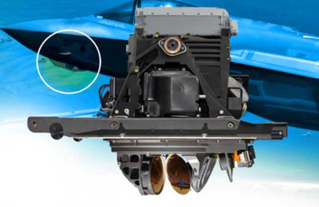 Azimuth gimbal housing seen in bottom center of Lockheed Martin F-35 Lightning II Electro Optical Targeting System (EOTS). Photo courtesy of Lockheed Martin Corporation. Copyright 2015. (CNW Group/IBC Advanced Alloys Corp.)