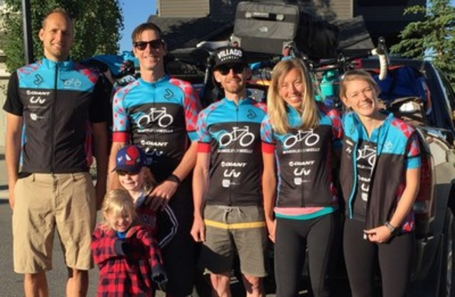 The Wheels for Wells Vancouver to Calgary cycling team from left to right: Justin Vink, Brad Sawa, David Custer, Sarah Fillier and Kaitlyn Ahearn. (CNW Group/World Vision Canada)