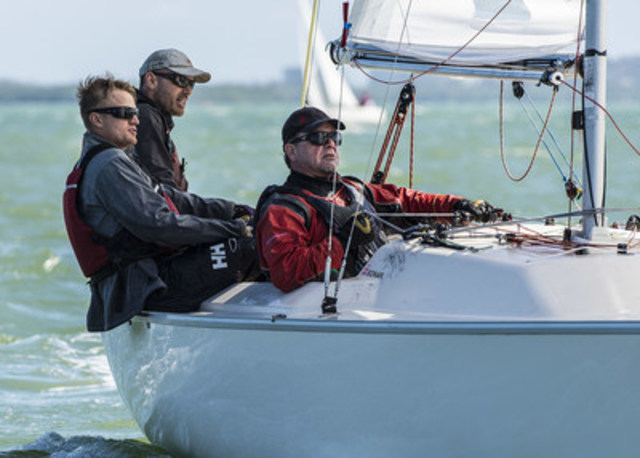 Paul Tingley and his Sonar crew, Scott Lutes and Logan Campbell, won gold at the 2016 Miami World Cup in January. Photo: Walter Cooper / Sail Canada (CNW Group/Canadian Paralympic Committee (CPC))
