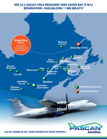 Pascan Starting July 2, regular flights will be available from Goose Bay(NL) (CNW Group/Pascan Aviation inc.)