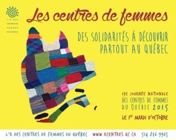 Les centres de femmes, partout au Québec, ont tissés 52 tricots-graffitis qui sont installés aujourd'hui à Trois-Rivières, pour la Marche mondiale des femmes. (Groupe CNW/L'R des centres de femmes du Québec)