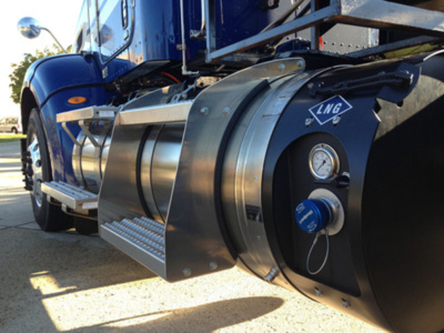 The Westport iCE PACK™ LNG Tank System is an onboard LNG tank system that is perfectly matched with large displacement, spark-ignited engines to meet the demands of today's trucking fleets by providing increased range, longer hold times and faster refuelling times. (CNW Group/Westport Innovations Inc.)