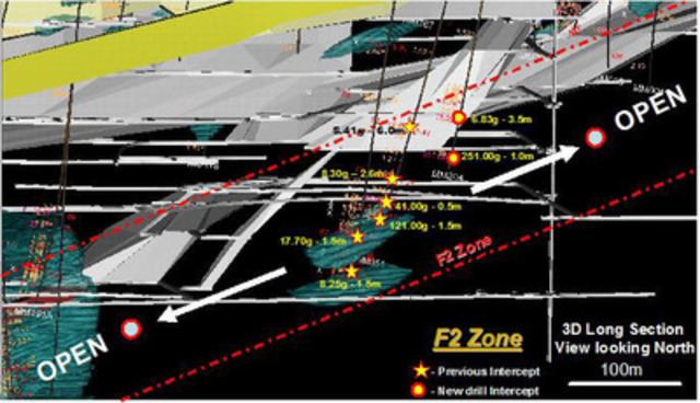 Figure 1 - Long Section of F2 Zone (CNW Group/Premier Gold Mines Limited)
