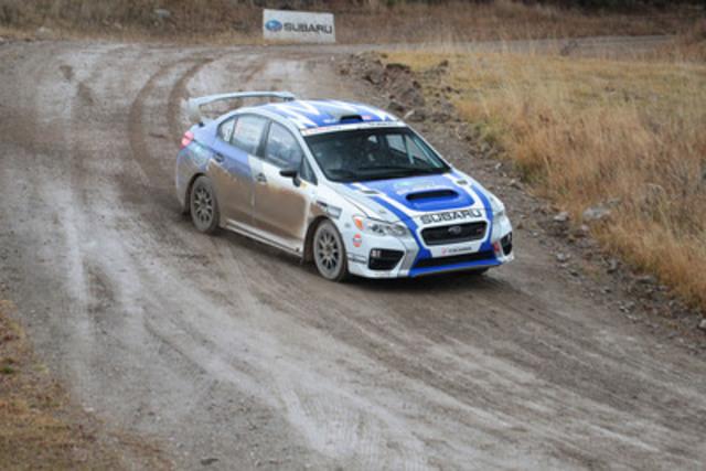 L'équipe canadienne des rallyes Subaru a remporté pour la 11e fois le championnat des constructeurs dans le cadre du Championnat des rallyes canadiens et à l'issue de sa victoire au Rocky Mountain Rally, à bord de la Subaru WRX STI préparée par Rocket Rally. ©2015 Rocket Rally Racing par Philip Ericksen/Radikal Videos (Groupe CNW/Subaru Canada Inc.)