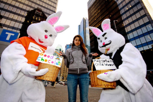 The World Vision Bunny and the Bitter Chocolate Bunny raise awareness of child labour in the cocoa industry as part of World Vision's No Child for Sale campaign on March 31, 2015 in Vancouver, BC. www.worldvision.ca. (CNW Group/World Vision Canada)