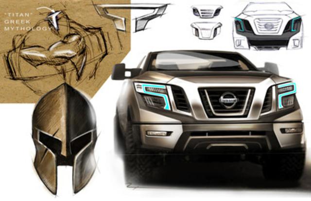 Le Nissan TITAN XD de prochaine génération a été conçu dans le but d'être le guerrier des « guerriers », tant par son apparence que par sa performance. Nissan est remontée aux origines très anciennes du mot « TITAN » afin de créer ce véhicule, dont l'avant et le logo sont inspirés par les casques des guerriers de l'Antiquité. (Groupe CNW/Nissan Canada Inc.)