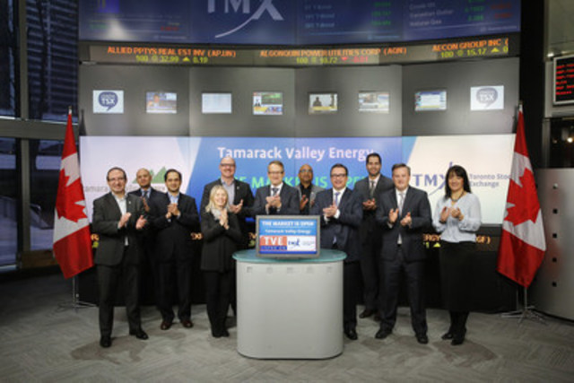 Brian Schmidt, President and CEO and Ron Hozjan, CFO, Tamarack Valley Energy Ltd. (TVE) joined Raina Vitanov, Regional Head, TSX Company Services, TMX Group to open the market.  Tamarack is an oil and gas exploration and production company committed to the identification, evaluation and operation of resource plays in the Western Canadian sedimentary basin. Tamarack's resource portfolio, includes Cardium properties at Lochend, Garrington and Buck Lake; heavy oil properties in Saskatchewan and oil development locations in the Redwater Viking play. Tamarack Valley Energy Ltd. graduated from TSX Venture Exchange and commenced trading on Toronto Stock Exchange on August 24, 2015. For more information please visit http://www.tamarackvalley.ca/index.php (CNW Group/TMX Group Limited)