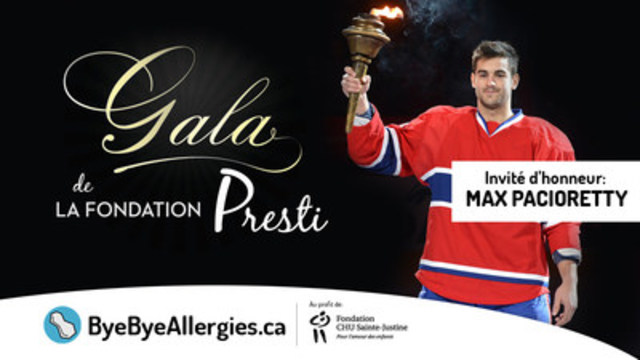 Max Pacioretty, capitaine du Canadien de Montréal, Freeway Frank de Virgin Radio, Anna Liani chanteuse du Cirque du Soleil, et DJ YO-C seront ce vendredi le 11 novembre au Gala de la Fondation Presti pour amasser des fonds pour soutenir www.ByeByeAllergies.ca et la Fondation du CHU Sainte-Justine (Groupe CNW/ByeByeAllergies.ca)