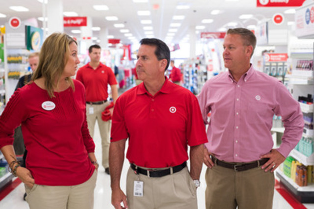 In his first Canadian store visit as chairman and CEO of Target Corp., Brian Cornell meets with Mark Schindele, president of Target Canada, and Janna Adair-Potts, head of Canadian stores and distribution. (CNW Group/Target Canada)