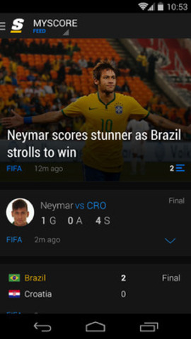 theScore's personalized 'Feed' on Android (CNW Group/theScore, Inc.)