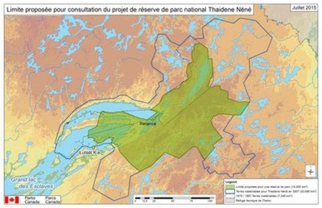 Limite proposée pour consultation du projet de réserve de parc national Thaidene Nëné (Groupe CNW/Parcs Canada)
