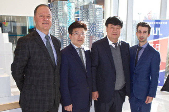 From left to right: Philip Cortese (Executive Vice-President, Financing, Brivia Group), Kheng Ly (President and CEO, Brivia Group), Qing Han (Chairman, Gansu Tianqing Real Estate), Steve Di Fruscia (CEO, Tianco Group). (CNW Group/YUL Condominiums inc.)