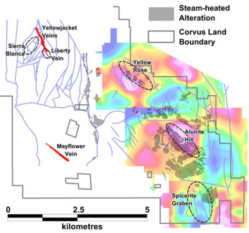 Figure 3: Location of 2015 Phase 1 drilling targets. Broad areas of steam-heated alteration have been mapped in the eastern area of the North Bullfrog Project area. The coloured images under the steam-heated area are Bouguer Gravity anomaly maps with local backgrounds removed. Hotter colours indicate denser rocks which and reflect the depth of Paleozoic basement. Distinct NW-trending structures are evident at Yellow Rose and Alunite Hill and are associated with steam-heated alteration. (CNW Group/Corvus Gold Inc.)
