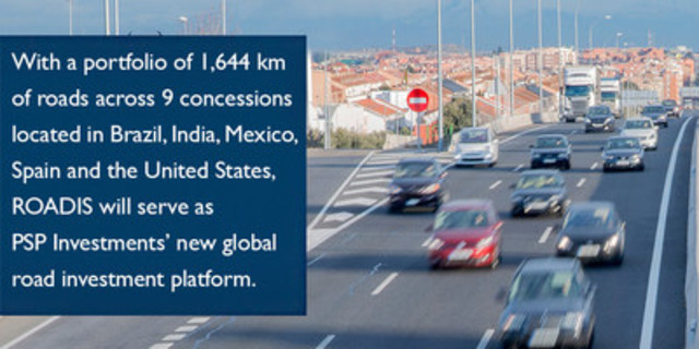 With a portfolio of 1,644 km of roads across 9 concessions located in Brazil, India, Mexico, Spain and the United States, ROADIS will serve as PSP Investments' new global road investment platform. (CNW Group/PSP Investments)