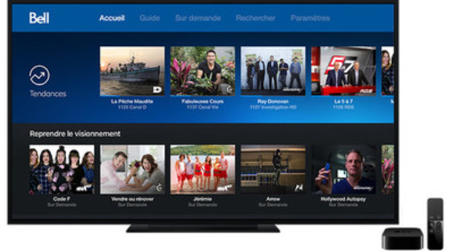 Bell Télé Fibe est le premier service de télévision canadien disponible sur Apple TV (Groupe CNW/Bell Canada)