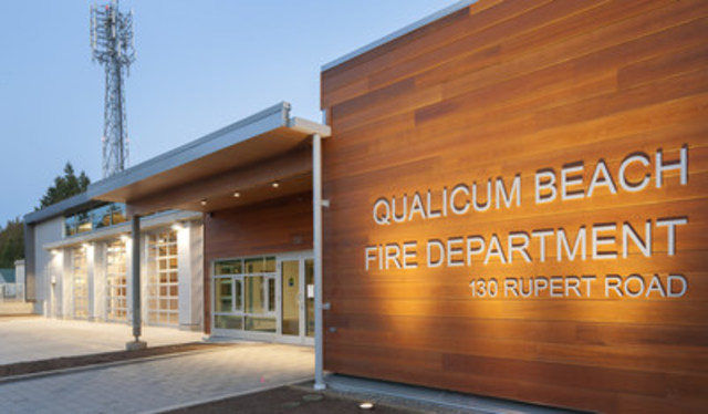 AVICC -- Association of Vancouver Island and Coastal Communities: Town of Qualicum Beach for the Qualicum Beach Fire Hall (MERIT: Vancouver Island Regional Library, representing 28 municipalities and 10 regional districts for libraries in City of Nanaimo and Town of Lake Cowichan) (CNW Group/Canadian Wood Council for Wood WORKS! BC)
