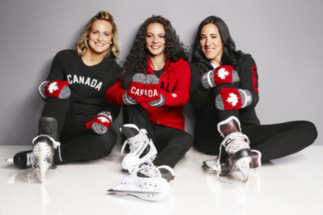 Olympians Shannon Szabados, Marie-Philip Poulin and Caroline Ouellette are the official Hudson's Bay Red Mitten ambassadors. The mittens have become the nation's most iconic symbol of Canadian Olympic pride and the source of millions of dollars in direct athlete funding through the Canadian Olympic Foundation. (CNW Group/Hudson's Bay)