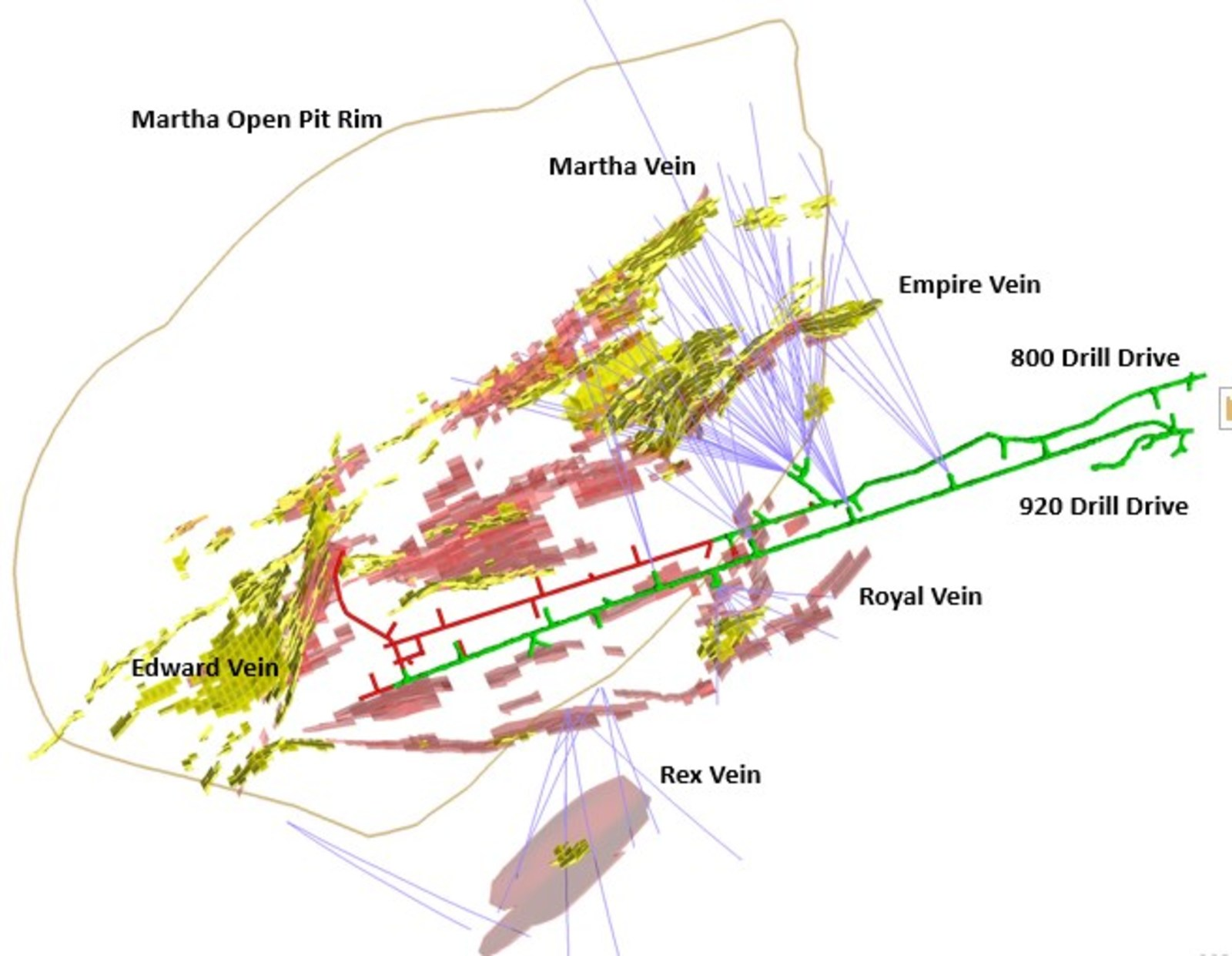 Figure 2 – Plan View showing drill holes within the Martha vein system and the dominant targeted veins. Pink = Main Target Areas, Yellow = Current Martha Underground Resource Areas.