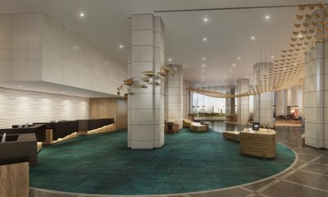 The redesigned lobby, including a hand-crafted ceiling installation by local artist Kaili Chun, will offer areas to socialize, rest, shop and dine. (CNW Group/Prince Resorts Hawaii)